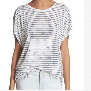 JOIE Riker Floral Stripe Linen Blend T-Shirt Top